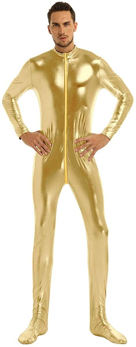 CHICTRY Men's Zipper Front Stand Collar Metallic Uniztard Zentai Bodysuit Jumpssuit