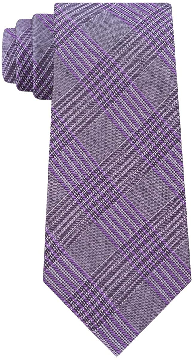 Calvin Klein Mens Schoolboy Silk Plaid Neck Tie