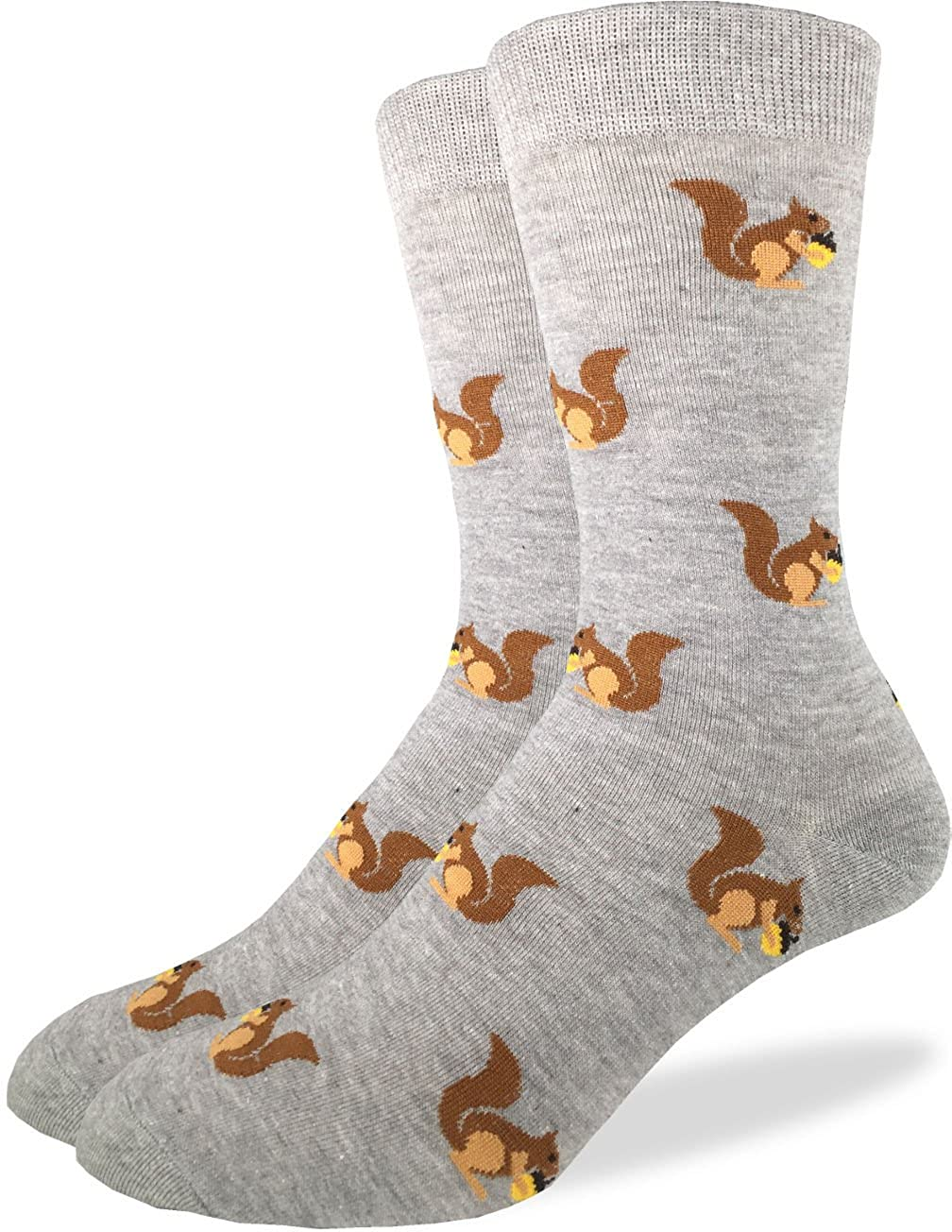 Good Luck Sock Men's Squirrels Crew Socks,Grey,Shoe: 7-12