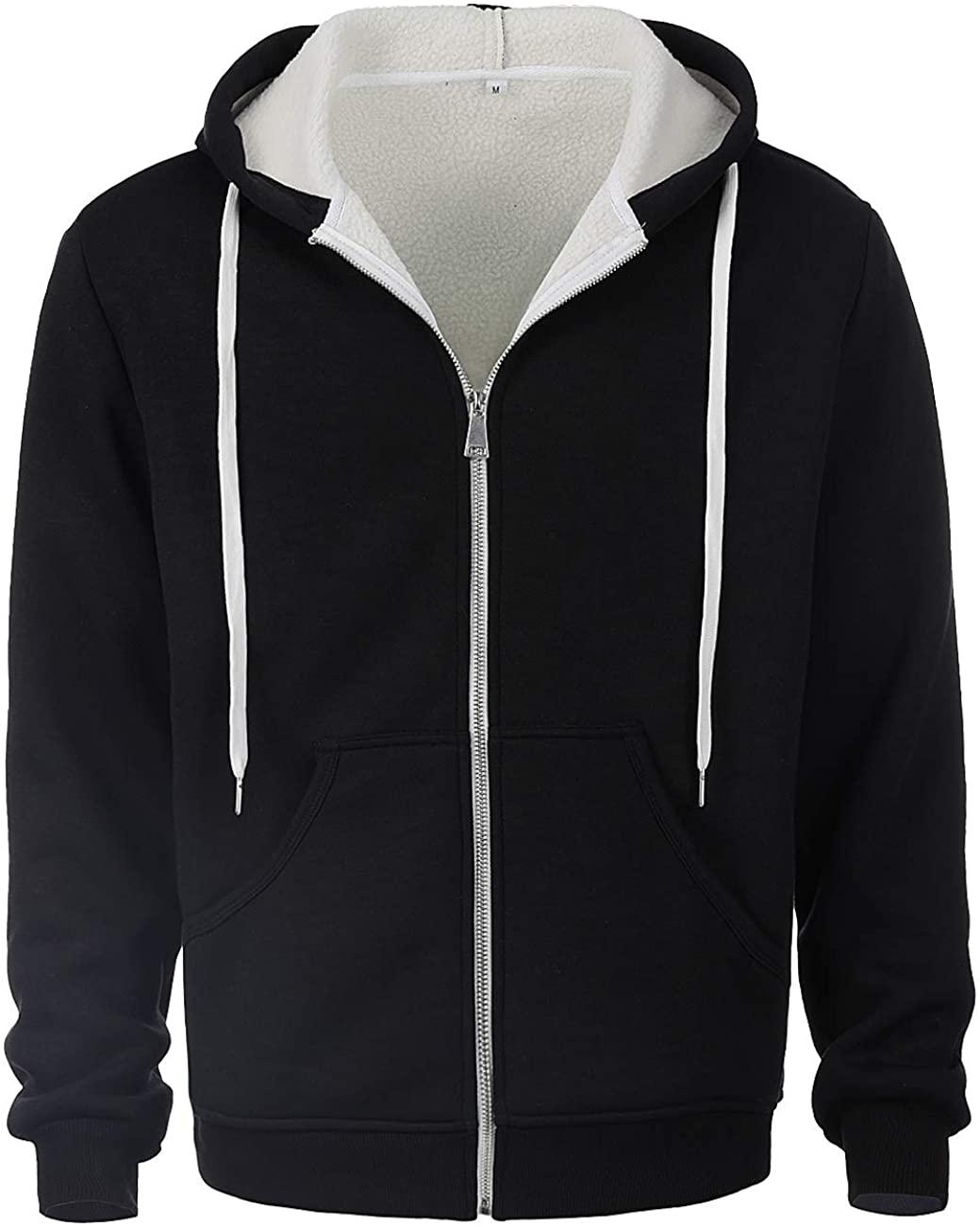 ZIOLOMA Mens Sherpa Lined Zip Up Hoodie Jacket Thermal Full Zip Hooded Fleece Sweatshirt