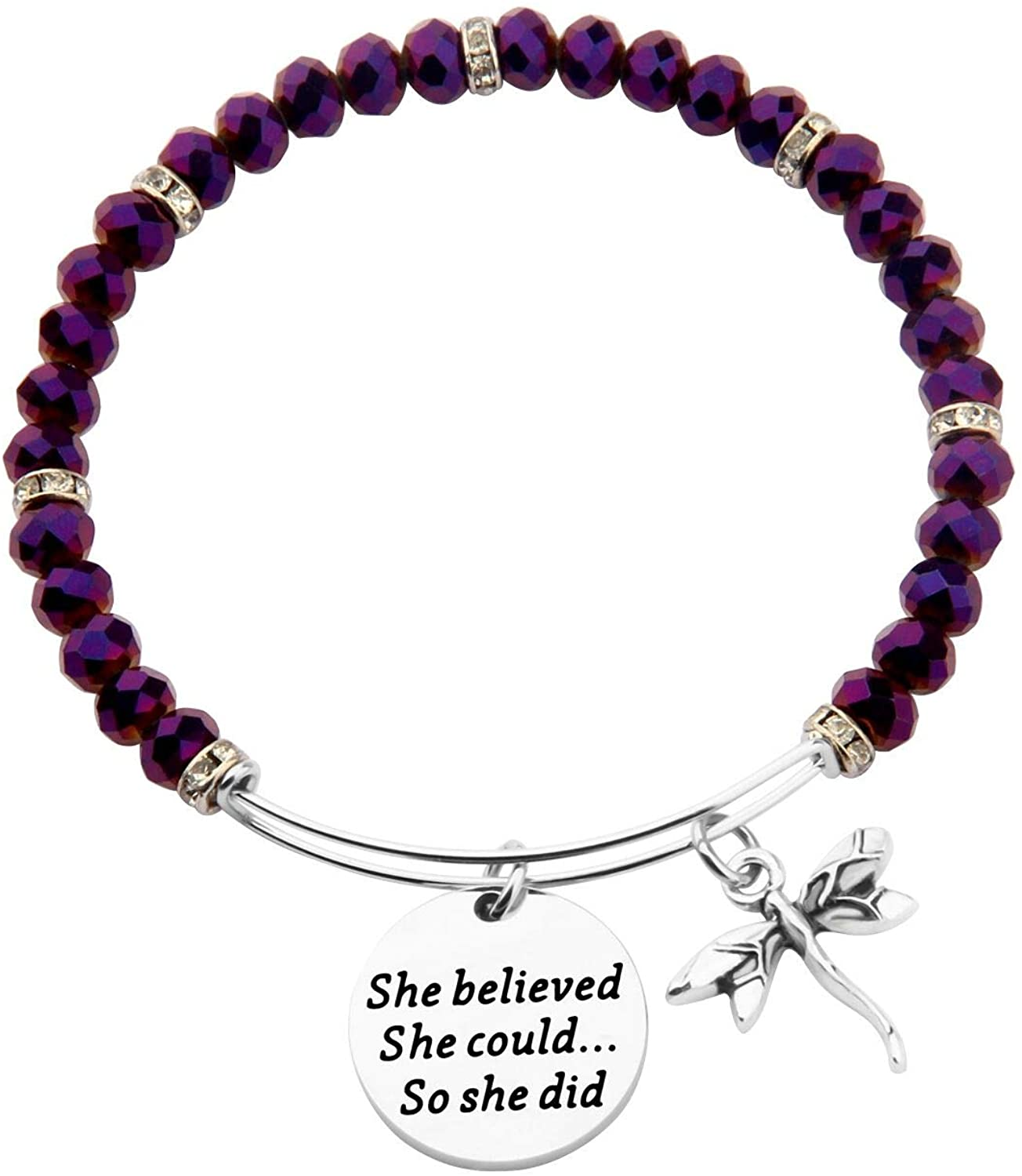 AKTAP She Believed She Could So She Did Dragonfly Charm Bracelet Motivational Graduation Gift