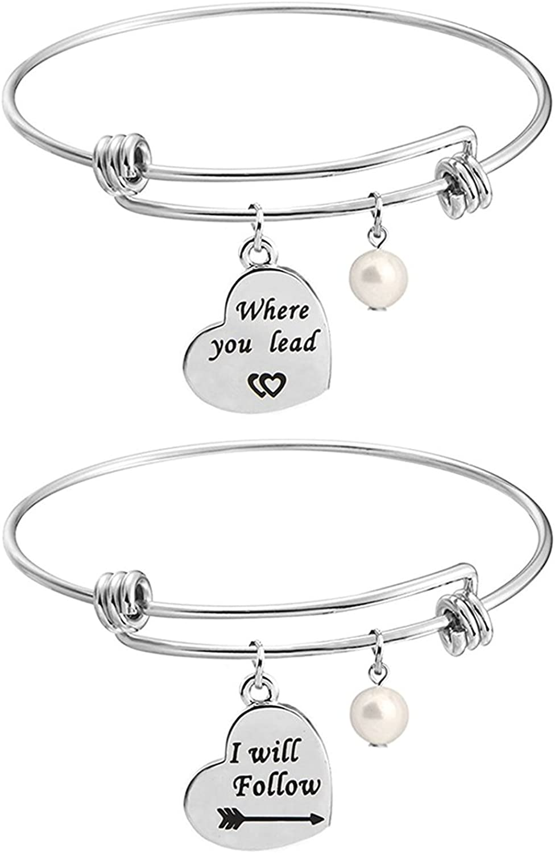 KUIYAI Gilmore Girls Bracelet Sets Where You Lead I Will Follow Cuff Best Friend Sisters Girlfriends Gift