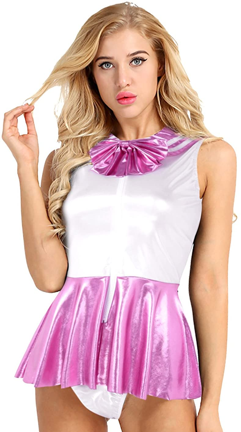 ACSUSS Women's Shiny Metallic Faux Leather Sailor Japanese Anime Cosplay Costumes