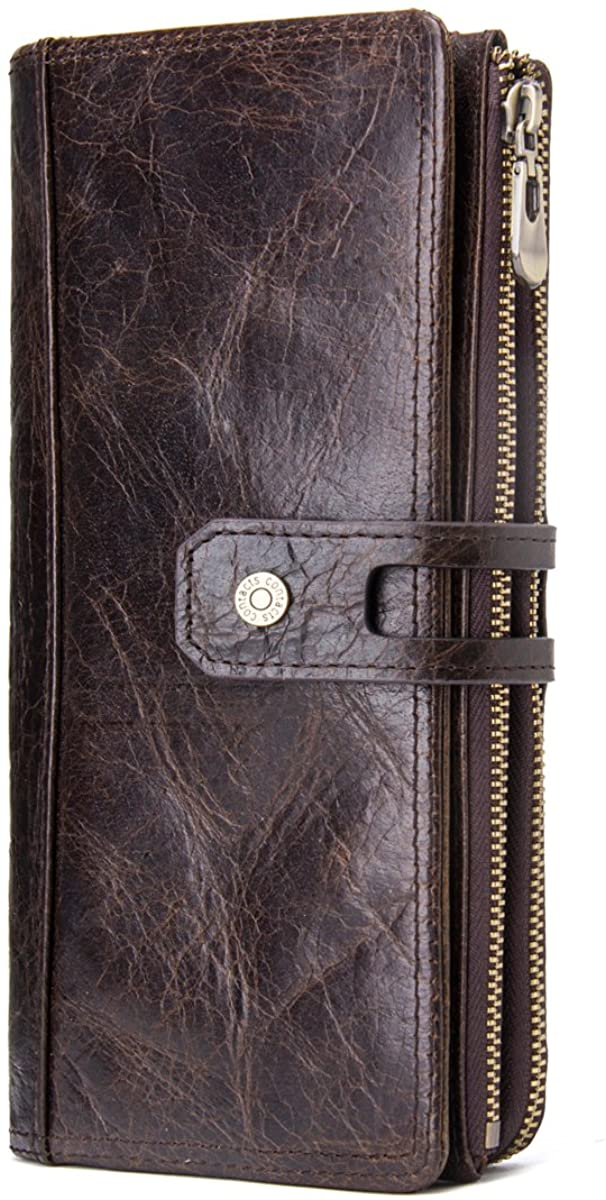 Contacts Mens Genuine Leather Zipper Coin Card Purse Bifold Trifold Wallet (Coffee)