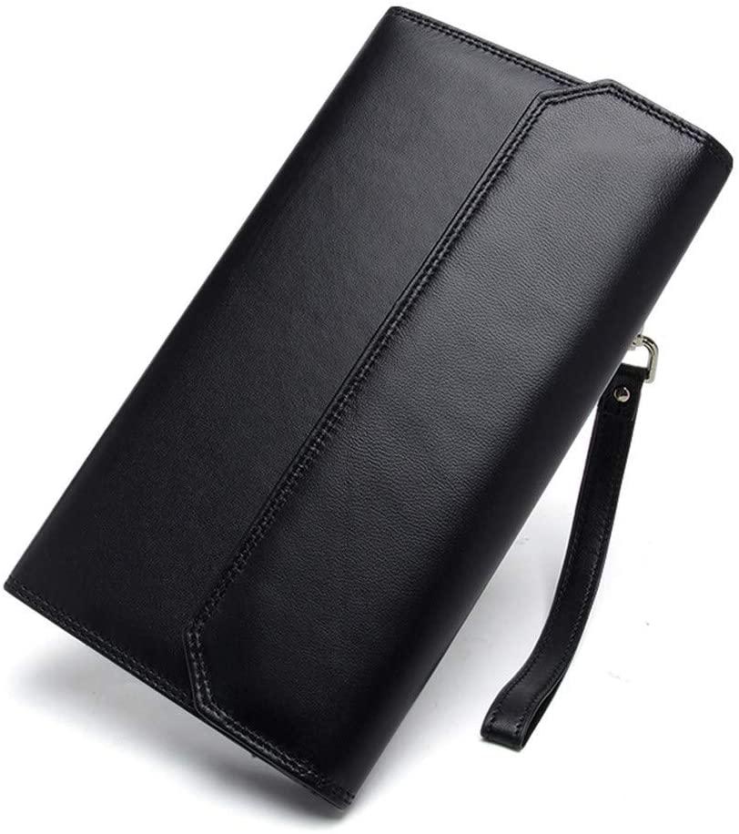 Men Genuine Leather Long Wallet Purse Case Pocket Business Zipper Money Wrist Bags Clutch Handy Bag,Black