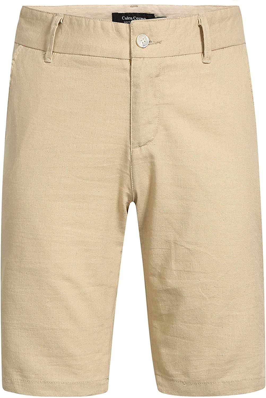 Colen Cosmo Men's Solid Flat Front Casual Linen Shorts