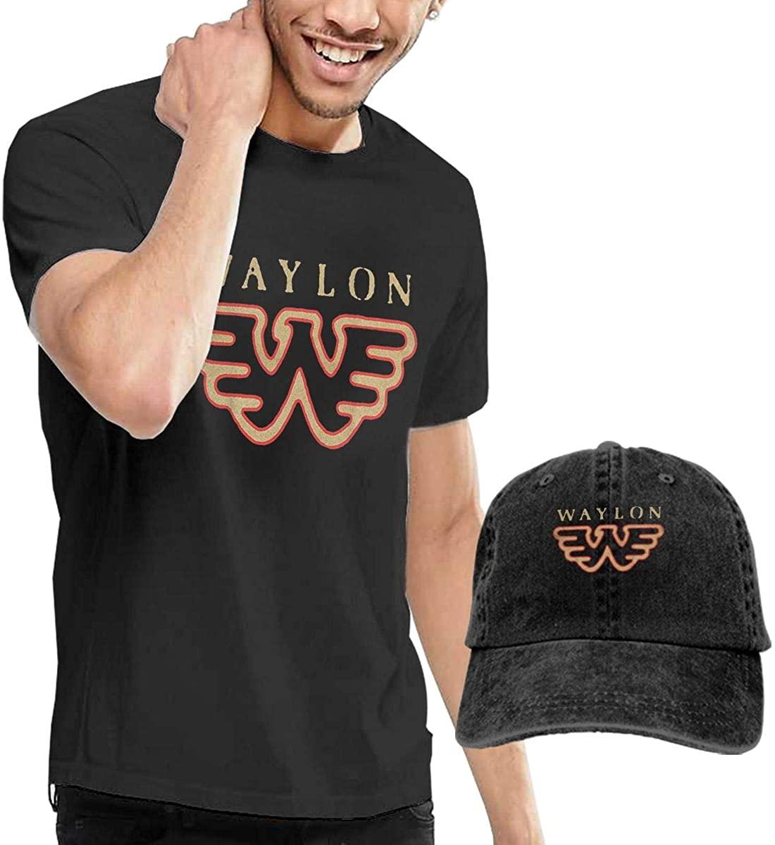 Reneealsip Waylon Jennings Fashionable Men's T-Shirt, Short Sleeve and Cowboy Hat Combination