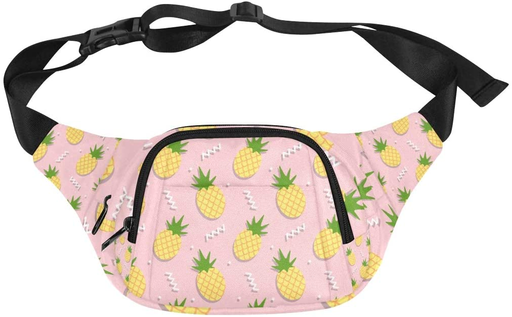 Womans Weedend Bag Fashion Summer Cute Fruit Pineapple Adjustable Belt Waterproof Nylon Fenny Pack Traveling Bag For Women Ladies Waist Pack Pack Waist Bag Women