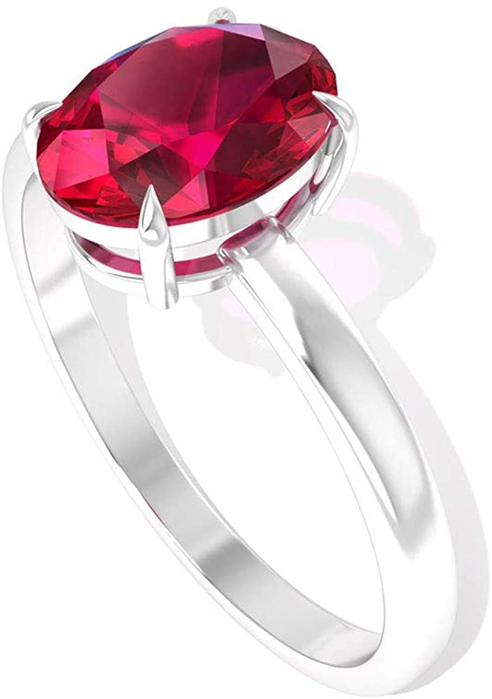 1.55 Carat Solitaire Red SGL Certified Ruby Engagement Rings, Classic July Birthstone Bridal Promise Matching Rings, Mother Birthday Anniversary Rings