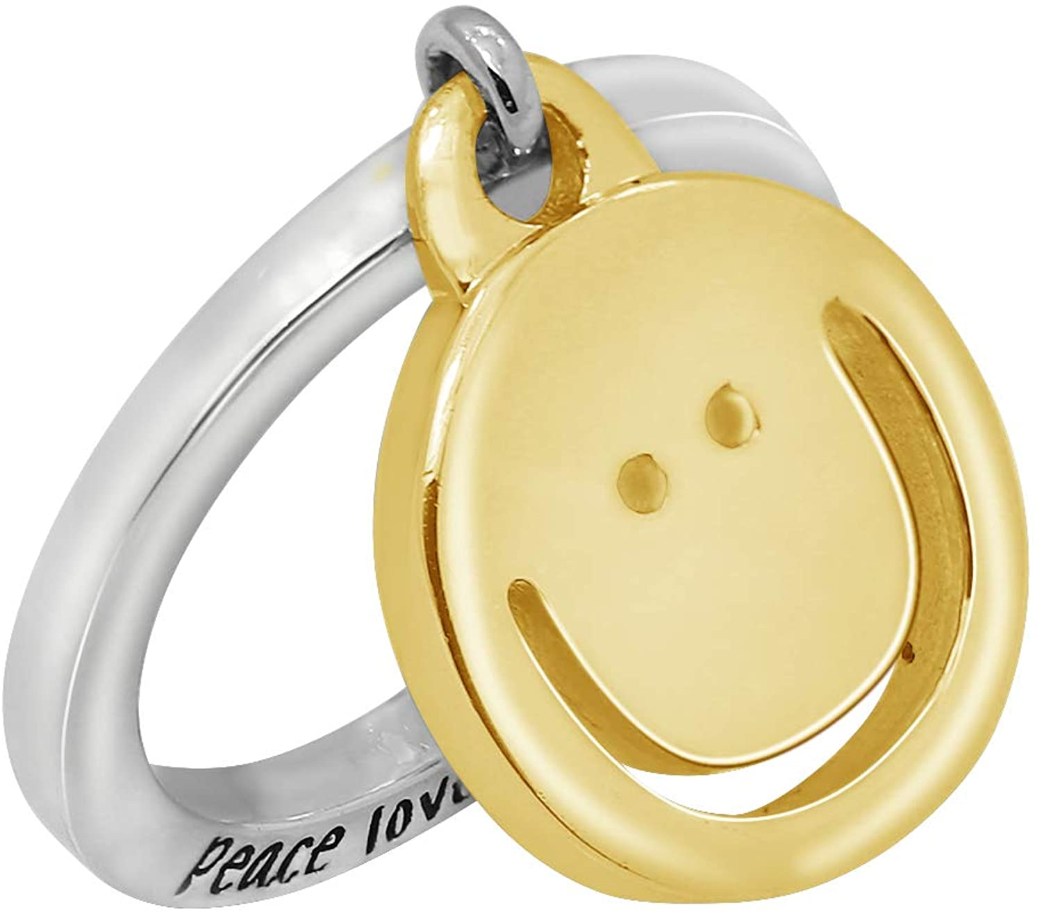 Peace Love World Sterling Silver Charm Dangle Ring, Happy, Size 6