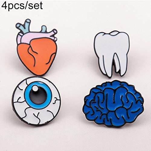 Harva Brooches - 2017 Creative Collar Corsage Cartoon Tooth Eye Organs Brooch Pin Jewelry - (Metal Color: Set)