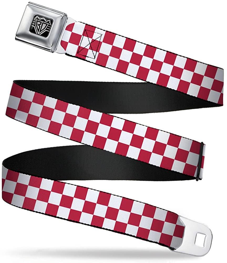 Buckle-Down Seatbelt Belt - Checker Crimson/White - 1.5