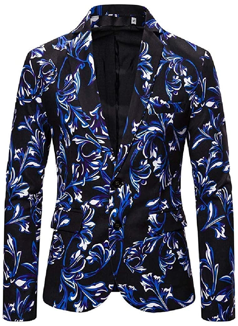 Men Floral Printing Single-Breasted Trim-Fit 3D Sport Coat Jacket Blazer