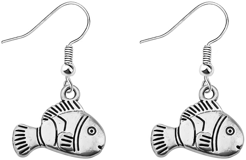 CENWA Silver Clown Fish Earrings Nemo Fish Earrrings Fish Jewelry Summber Holiday Gift