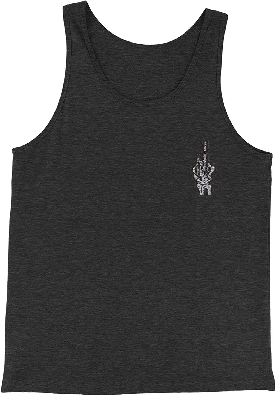 Expression Tees Embroidered Skeleton Middle Finger Patch (Pocket Print) Jersey Tank Top for Men