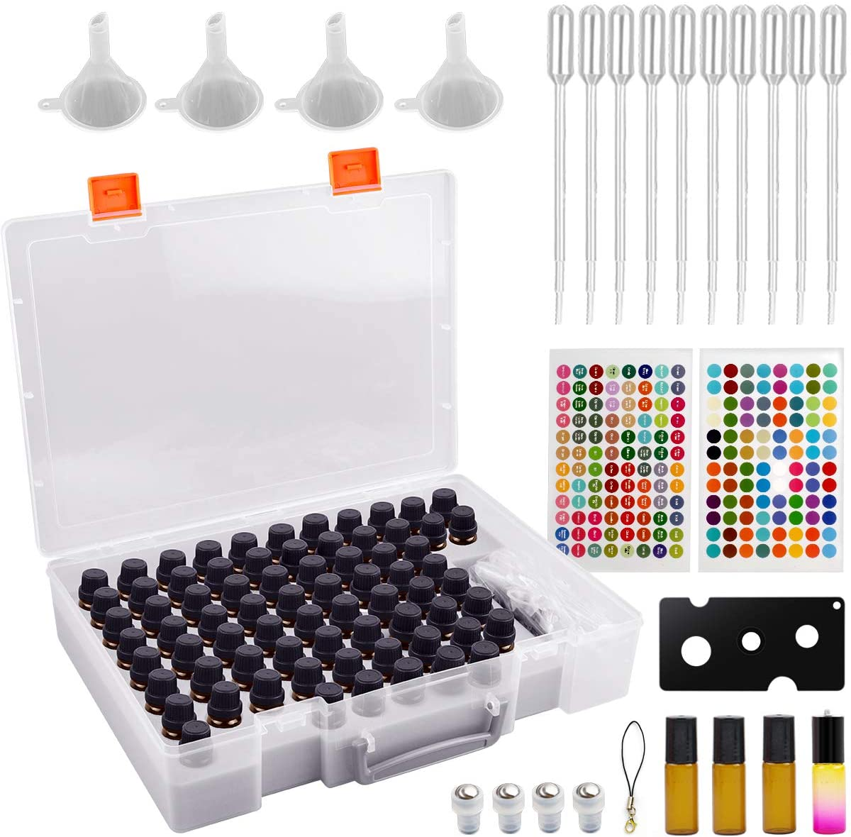 Essential Oil Storage Case Contains 73 Bottles and accessories with Stickers, Opener, Funnels, Pipettes, Bottles Organizer Holder Container (Not Include Bottles)