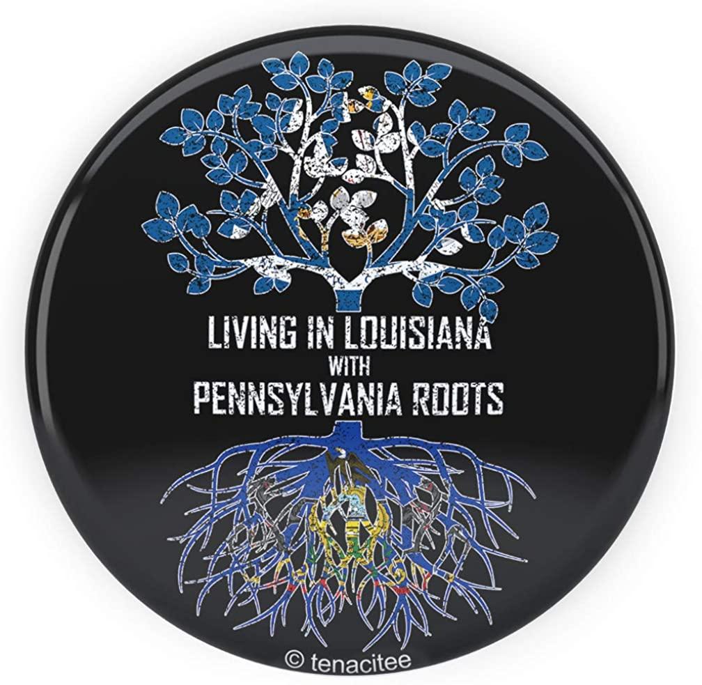 Tenacitee Living In Louisiana with Pennsylvania Roots Pinback Button