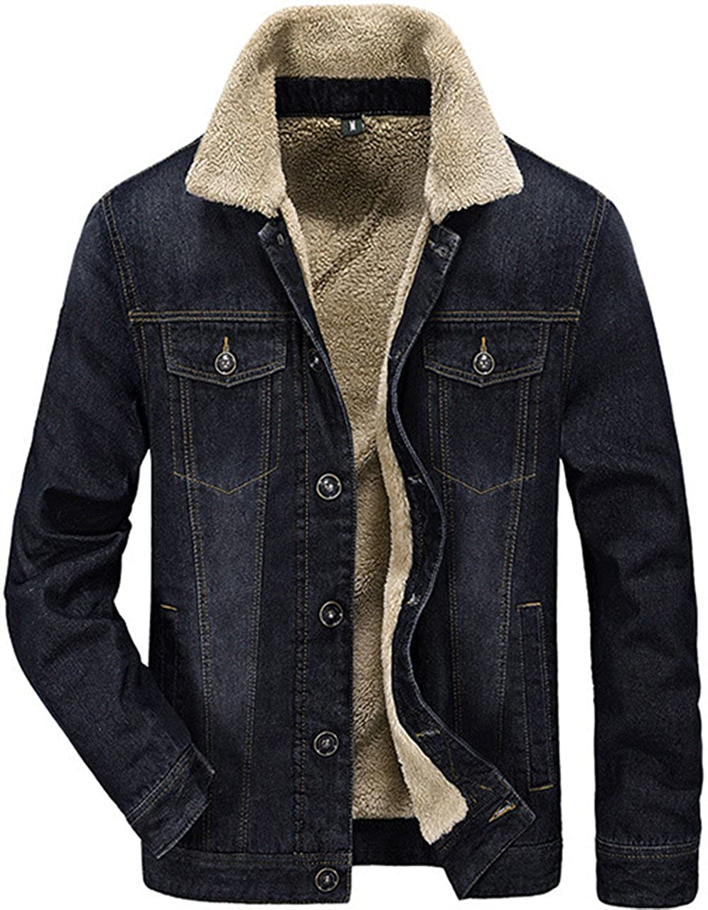 Mens Lapel Thicken Warm Denim Jacket Casual Parker Jacket