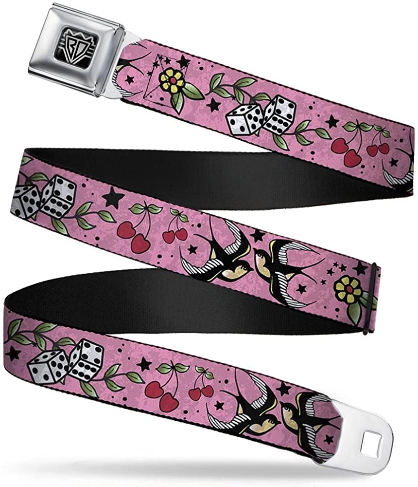 Buckle-Down Seatbelt Belt - Lucky CLOSE-UP Pink - 1.5