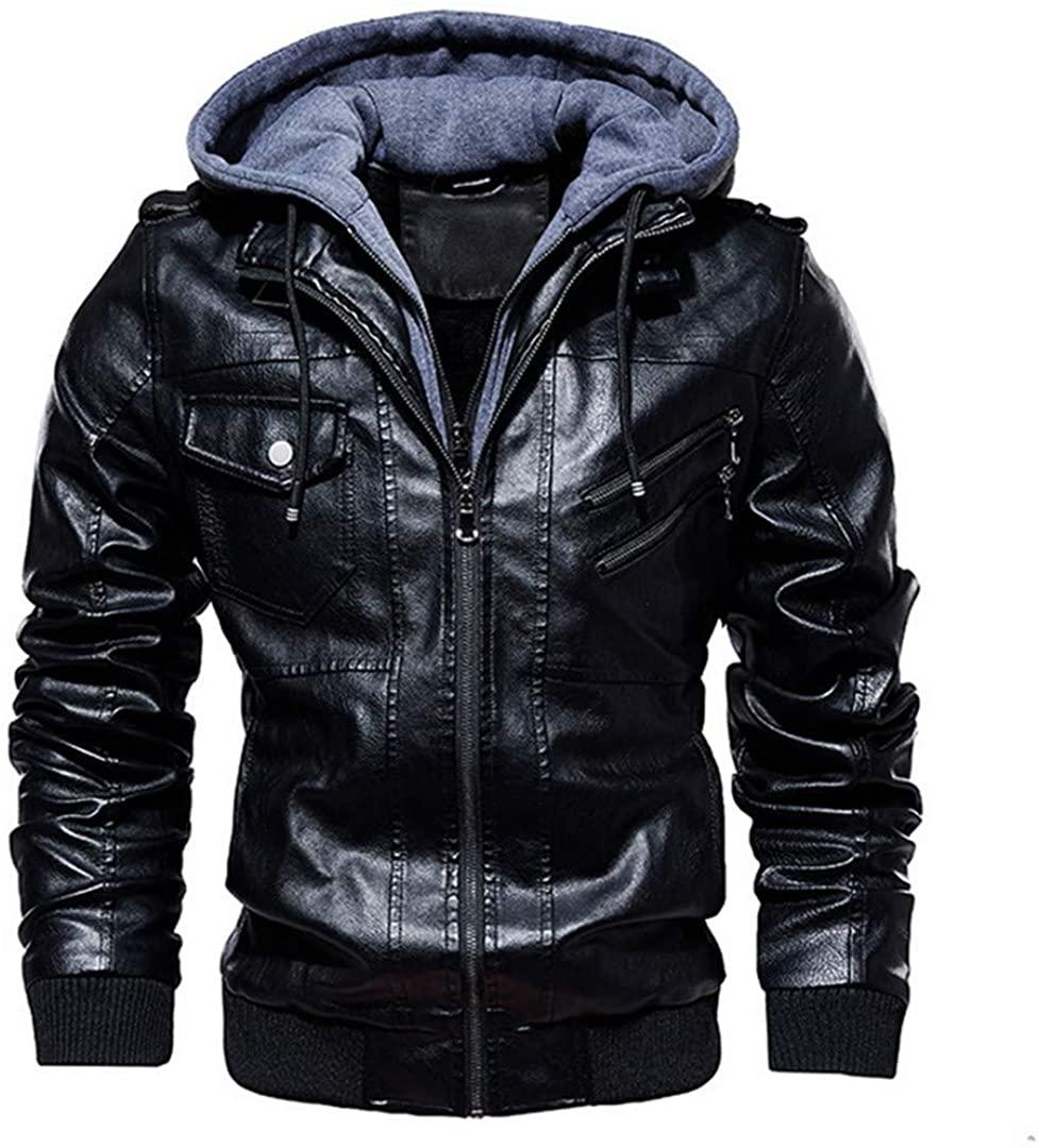 Flystealth Autumn Winter Motorcycle Leather Jacket Warm Windbreaker Hooded PU Jackets Outwear PU Baseball Jackets