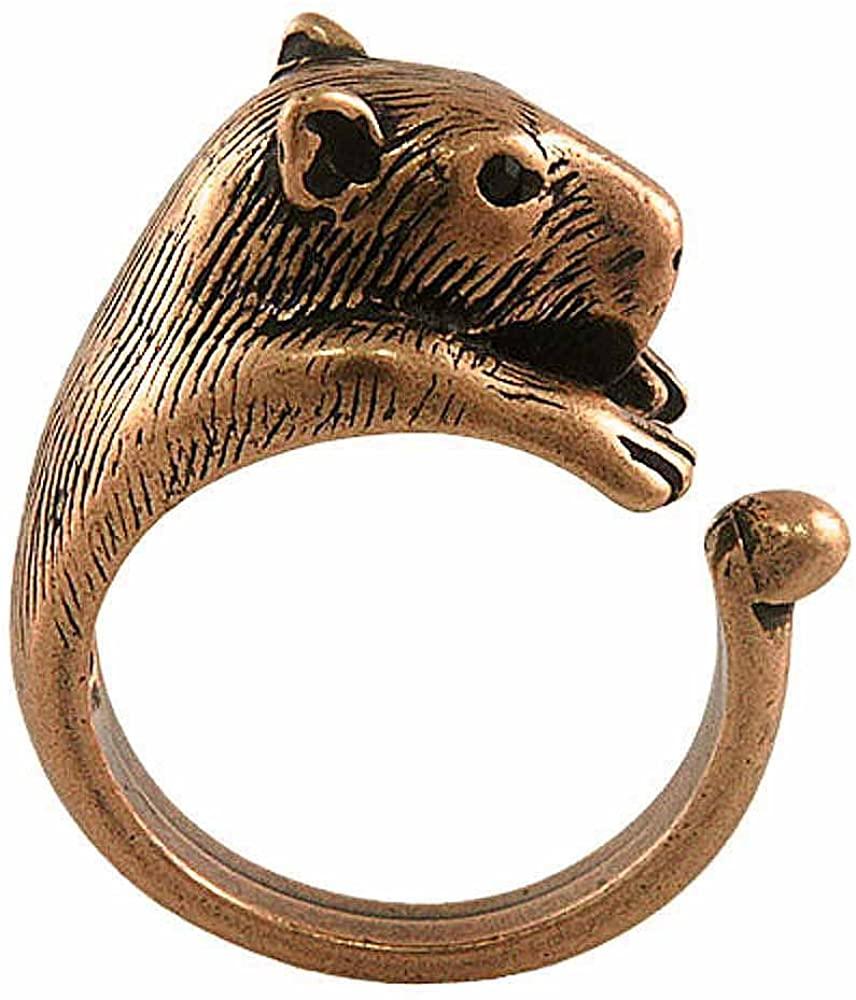 Ellenviva Capybara Adjustable Animal Wrap Ring Vintage Bronze Tone