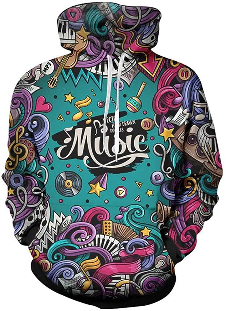 3D Print Music Note Party Hip Hop Jogger Tracksuit Jacket Sweatsuit Sweatshirt Hoodies 2 Pcs Set