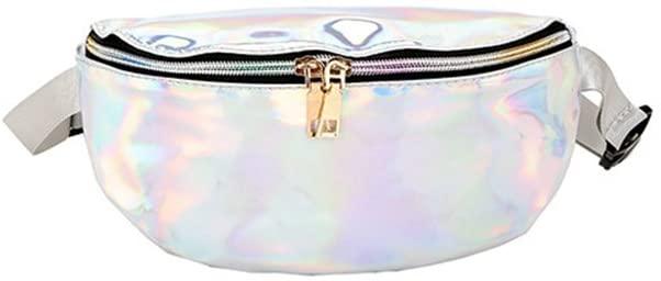 Cossky Women Shiny Holographic Fanny Waist Bag Glitter Girls Bum Bag Waterproof Pack