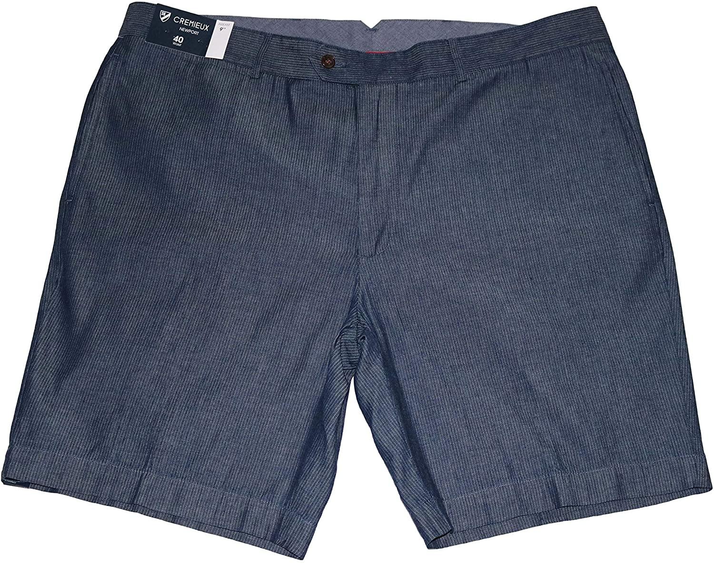 Cremieux Men's Newport Cotton Flat Front Shorts, Navy, 40