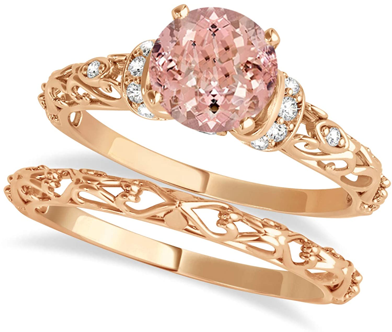 (0.87ct) 18k Rose Gold Morganite and Diamond Antique-Style Bridal Set