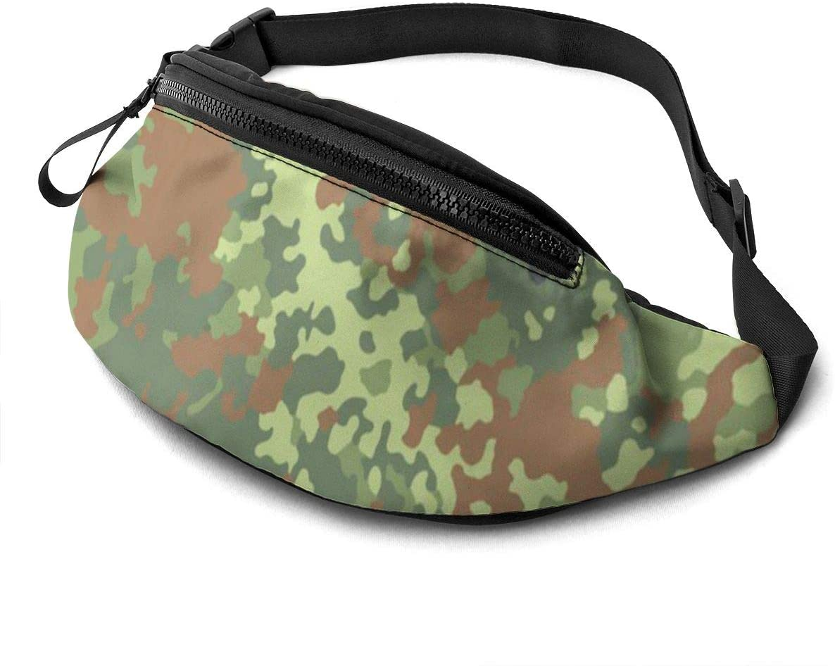 German Bundeswehr Flecktarn Camo Fanny Pack For Men Women Waist Pack Bag With Headphone Jack And Zipper Pockets Adjustable Straps