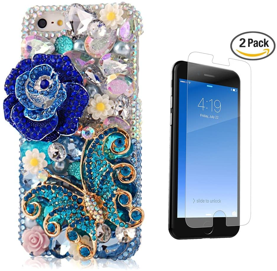STENES iPhone 6S Case - [Luxurious Series] 3D Handmade Crystal Sparkle Bling Case With Screen Protector & Retro Bowknot Anti Dust Plug - Blue Crystal Rose Butterfly Flowers