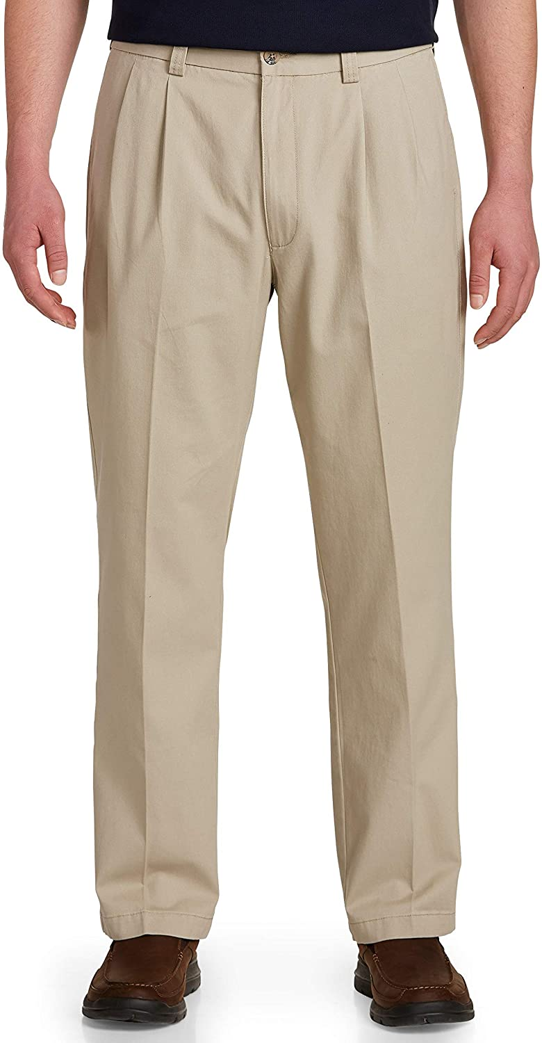 Harbor Bay by DXL Big and Tall Waist-Relaxer Pleated Twill Pants, Khaki, 54 Regular/28 Inseam