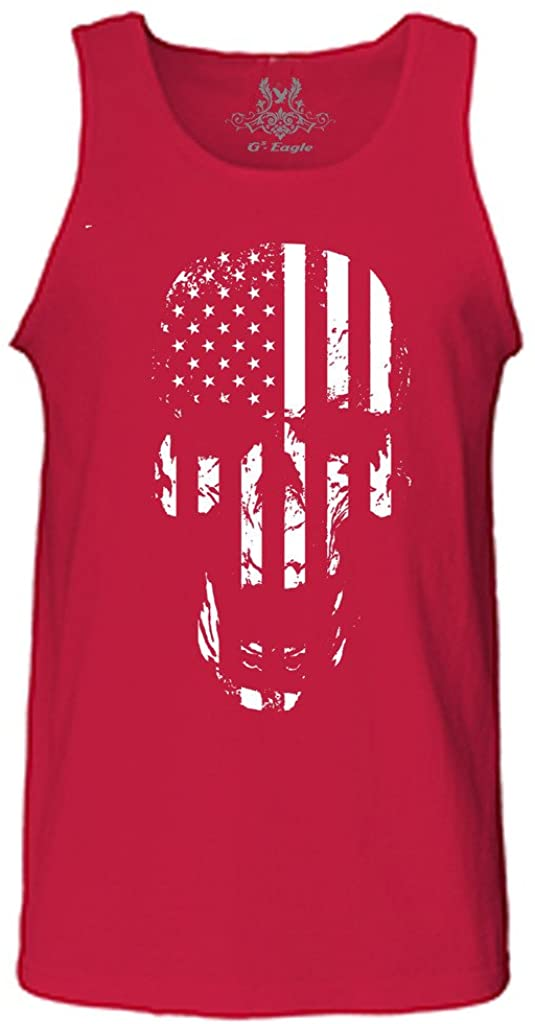 Gs-eagle Men's Printed Skull American Flag Graphic Tank Top Small Red