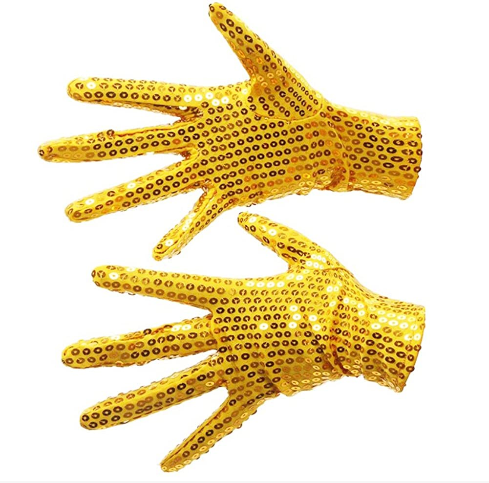 Unisex Cosplay Sequin Gloves for Stage Performance Halloween Xmas Birthday Party