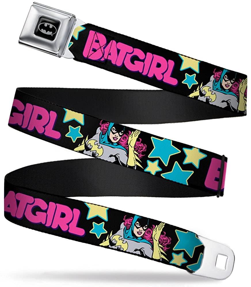 Buckle-Down Men's Seatbelt Belt Kids, Batgirl Running Stars Black/Pink/Yellow/Blue, 1.0