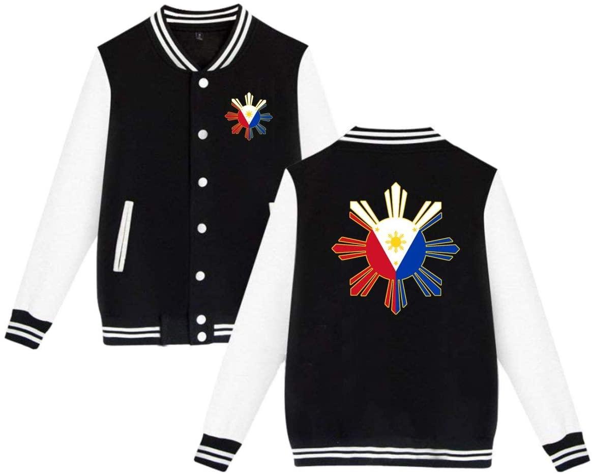 MOCSTONE Men's Women's Varsity Jacket Filipino Flag Baseball Jacket Letterman Jackets Sport Coats