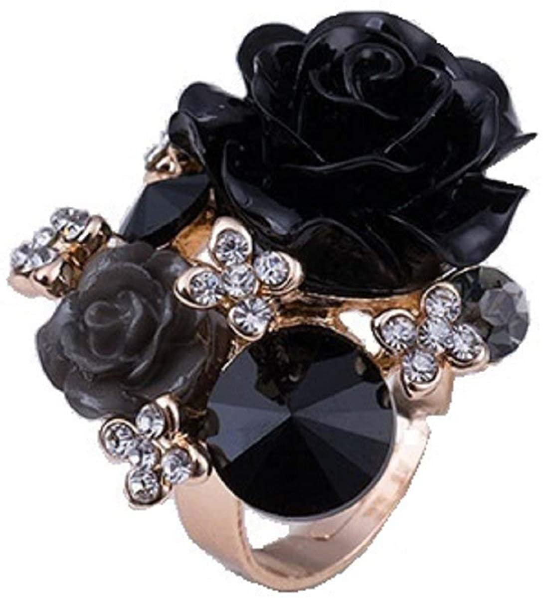 Indian Handicrafts Export Sansar India Flower Crystal Resizeable Rings for Girls and Women