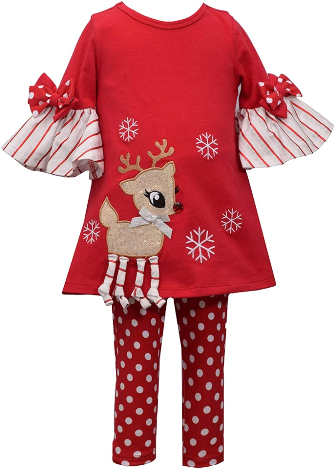 Bonnie Jean Holiday Christmas Tunic with Reindeer Applique Outfit Set