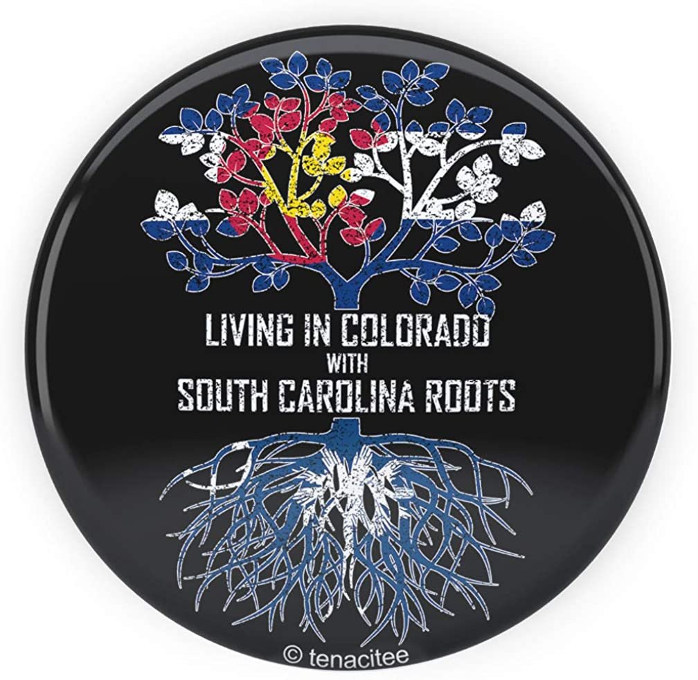Tenacitee Living In Colorado with South Carolina Roots Pinback Button