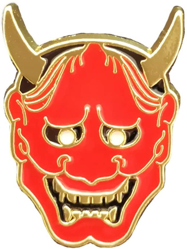 Japan Hannya Brooch Badge Hyakkiyakou Mask Lucky Pin Bag Decoration Mens Gift Metal