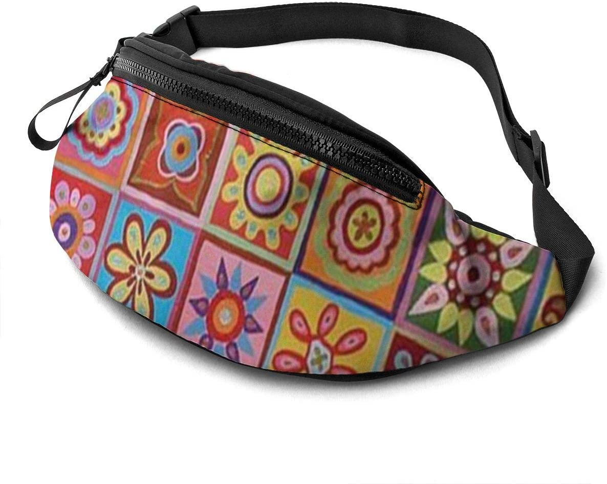 Colorful Printing Fanny Pack For Men Women Waist Pack Bag With Headphone Jack And Zipper Pockets Adjustable Straps