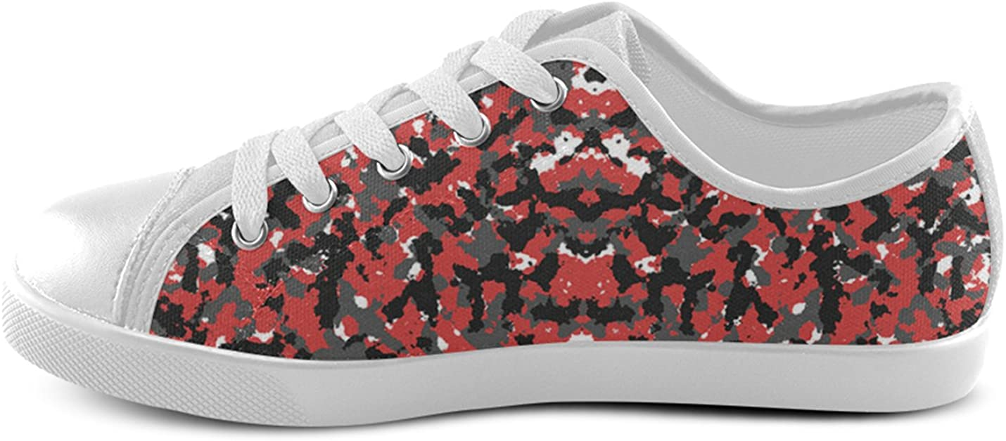 MHIHT Kids Sneakers Camouflage Pattern Lace-Up Low Top Canvas Shoes,White