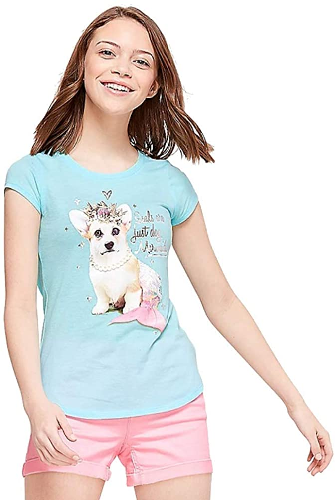 Justice Girls Corgi Mermaid Graphic Tee Teal