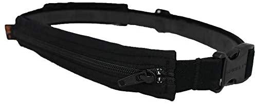 SPIbelt Double Pocket Running Belt, Black Fabric/Black Zipper/Logo Band