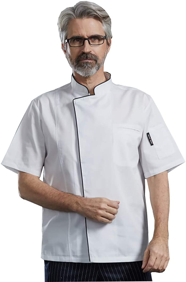 Men's Chef Coat Hidden Snaps Short Sleeve Color Piping Chef Jacket Chef Uniform