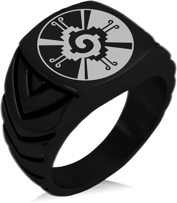 Tioneer Stainless Steel Mayan Hunab Ku Rune Chevron Pattern Biker Style Polished Ring