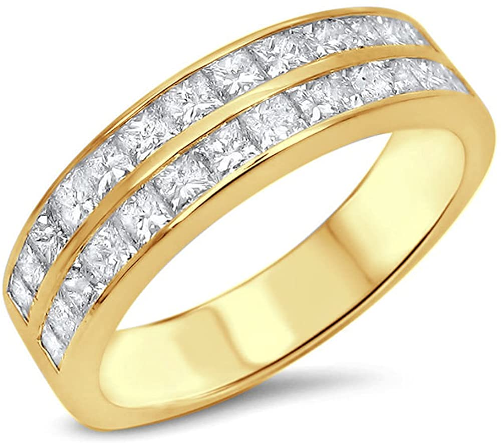 HN Jewels Men's 1.75 Ct Princess Cut Clear Created Diamond Wedding Band Ring 14K Gold Plated 925