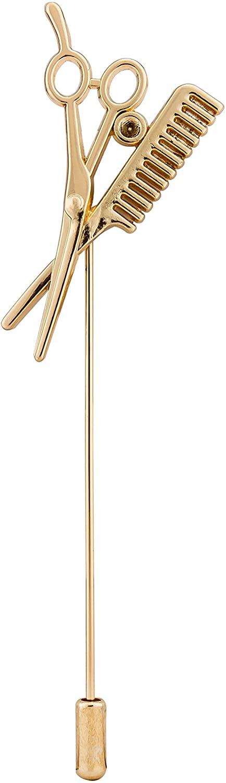 Knighthood Men's Scissor and Comb Barber's Lapel Pin/Shirt Stud Brooch Golden