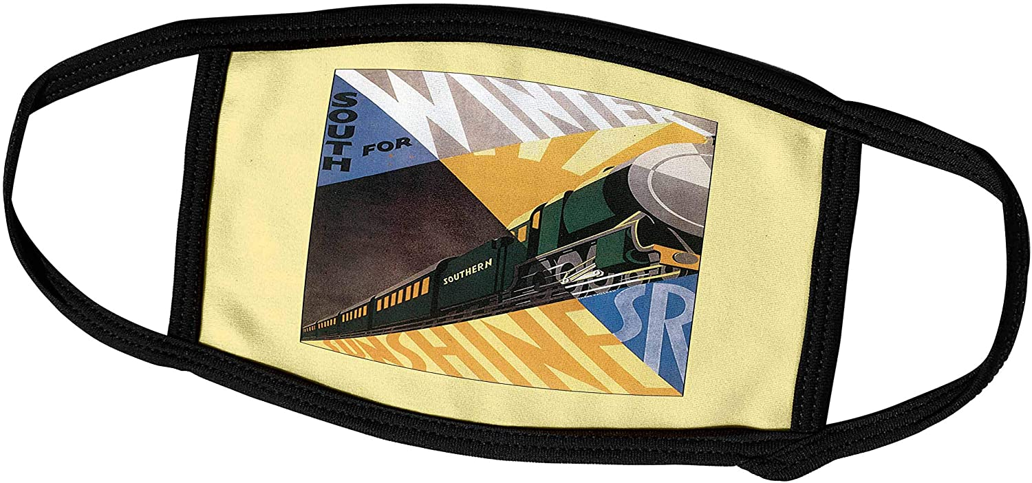 3dRose BLN Vintage Travel Posters and Luggage Tags - South for Sunshine Luggage Label with Southern Train - Face Masks (fm_169825_2)