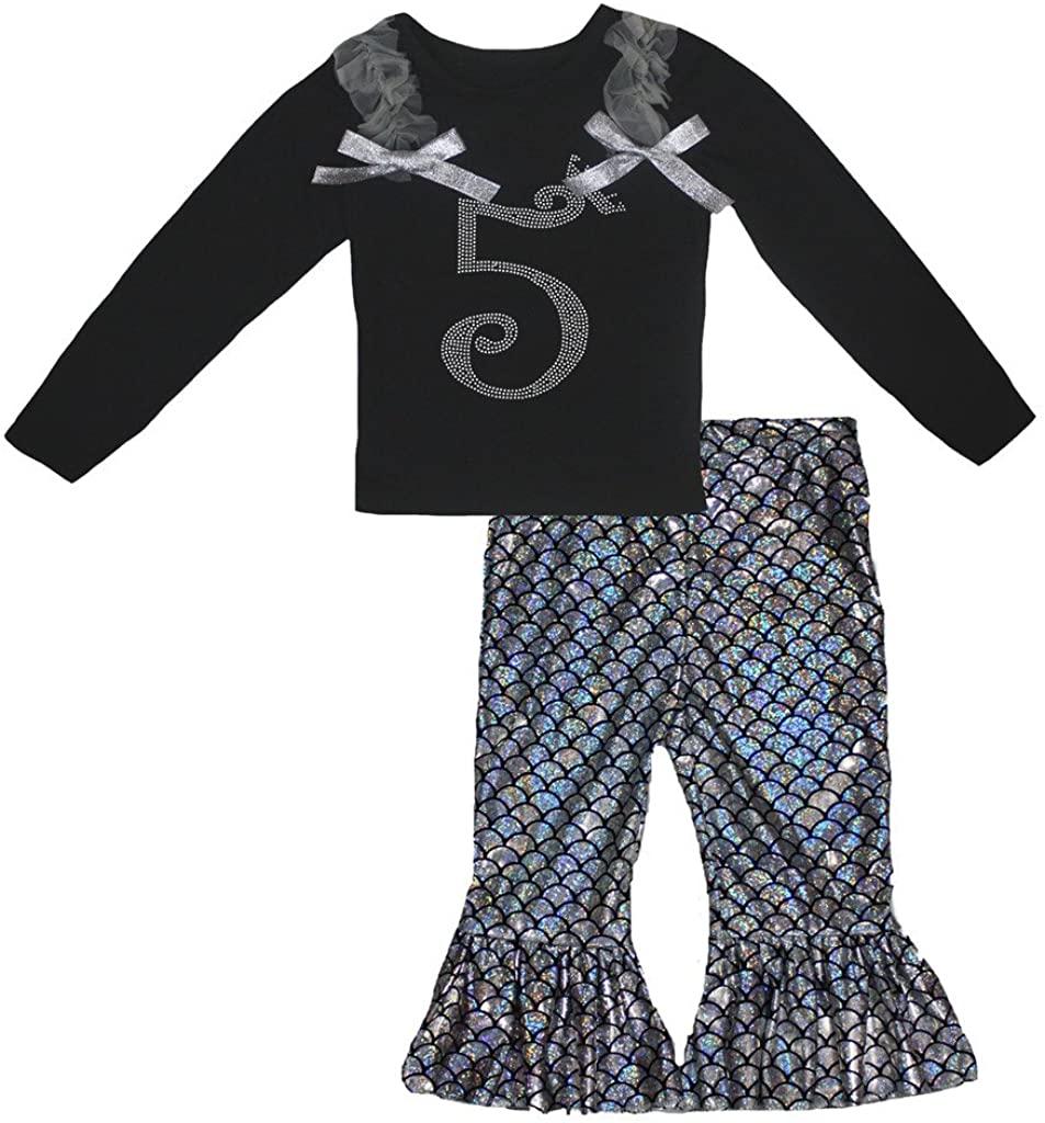Petitebella Birthday Crown 5 Black L/s Shirt Silver Fish Scale Mermaid Pant 1-8y